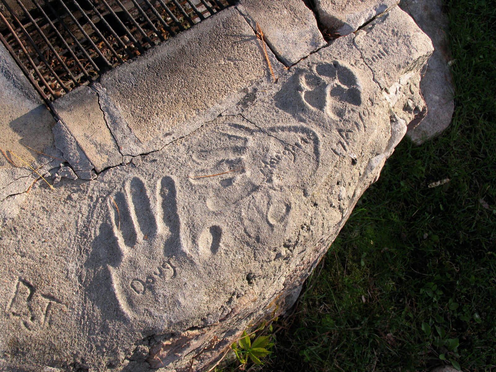 Handprints in concrete